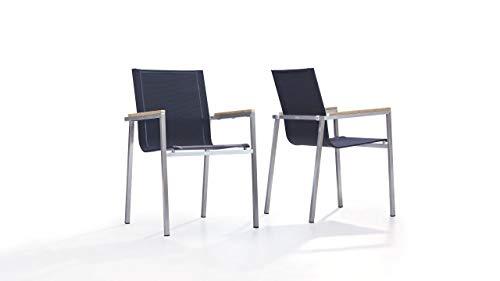 talfa Edelstahl Stuhl Set in Schwarz - Tex L, 2 Stück