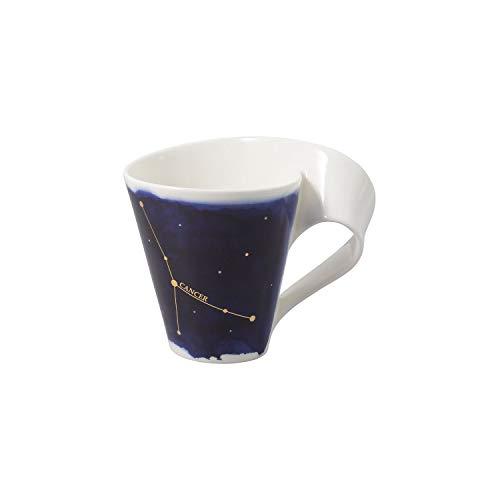 Villeroy & Boch 10-1616-5816 NewWave Stars Becher mit Henkel, formschöne Tasse mit Krebs-Motiv, Premium Porzellan, spülmaschinengeeignet, weiß/blau, 300 ml