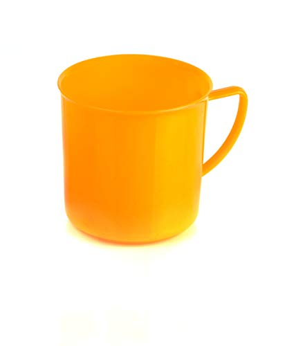 Kimmel Henkelbecher Henkeltasse Teetasse Kaffeebecher Mehrweg bruchsicher klein 180 ml, Kunststoff, Orange