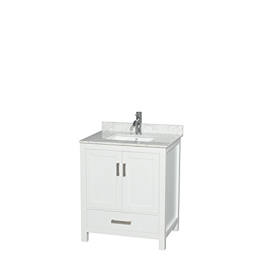 Wyndham Collection Sheffield 30 inch Single Bathroom Vanity in White, White Carrara Marble Countertop, Undermount Square Sink, and No Mirror