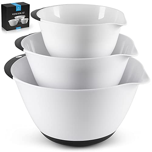 Zulay Kitchen 3-Piece Plastic Mixing Bowls With Handles & Non Slip Bottom