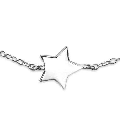réglable – Bracelet – Etoile – Argent Sterling 925 – Longueur : 18 cm/17,8 cm – Coffret cadeau inclus – La Rose & Silver Company – Rs0542