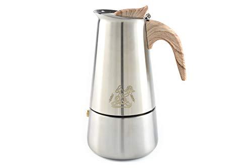 Walter\'s Brotlädele Espressokocher Elektro, Gas oder Induktion geeignet | aus Edelstahl gefertigt mit Bakelit Griff und Silikonbeschichtung | 6 Tassen Espressokanne | 300 ml Mokkakanne
