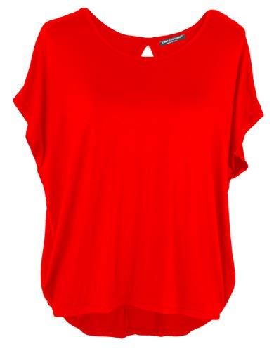 Emma & Giovanni Damen Basic Sommer T-Shirt/Oberteile Kurzarm, Rot, Gr.- DE 42-44 (Herstelleretikett XL)