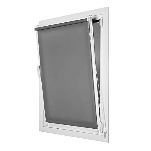 Stores Deco Estor Enrollable traslúcido EasyFix, fácil instalación sin taladrar, Ideal para Ventanas abatibles (75 cm x 180 cm, Gris)