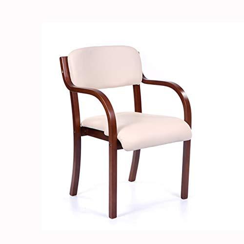 LJZslhei Stuhl Esszimmerstuhl Einfacher Schreibtischstuhl Armlehnenstuhl Computerstuhl Kreativer Holzstuhl Rosa Kissen (Color : Brown)