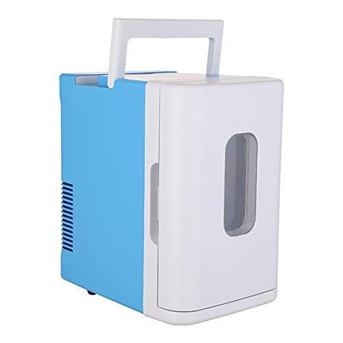 Refrigerador con calentador frío, mini refrigerador compacto portátil pequeño 10 litros gran capacidad, con vidrio visible, congelador súper silencioso en vehículo para automóviles, hogares, o