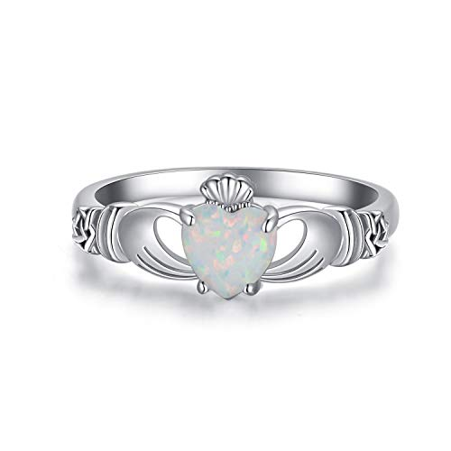 POPKIMI Love Loyalty Friendship Claddagh Ring Sterling Silver Created Opal Rings Irish Gifts Celtic Jewelry for Women (7)