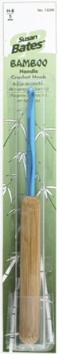 Susan Bates 5-1/2-Inch Bamboo Handle Silvalume Head Crochet Hook, 5mm, Turquoise