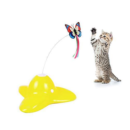 Tie langxian Haustier Katzenspielzeug, für den Innenbereich, 360 ° drehbar, blinkende Schmetterlinge, Interaktives Spielzeug für Haustiere (Gelb)