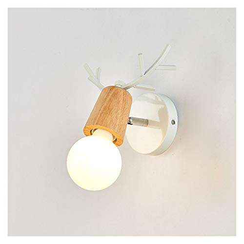 Drdcsad Wall lamp Indoor Wood Wall Lamp Sconces E27 Bulb Night Retro Vintage Industrial Bedside Lights Interior Wooden Down Bedroom (Color Temperature : Warm White, Lampshade Color : White B)