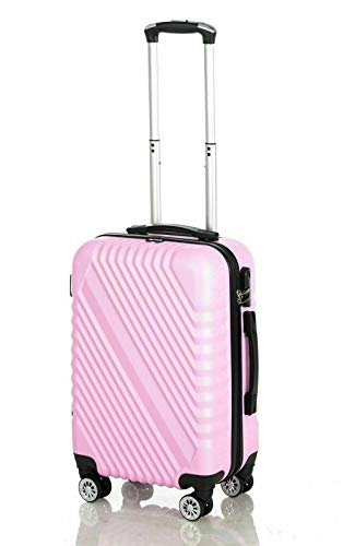Cabin Hand Luggage Suitcase Ryanair 4 Doubled Wheeled ABS Travel Case (Pink)