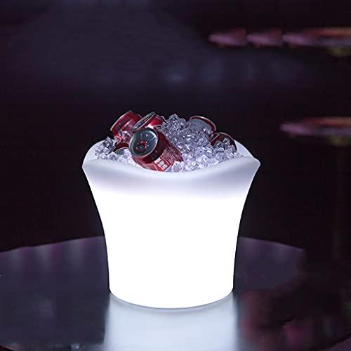 RongWang 2021 Nuevo LED Colorido Luminoso Barril de Vino de Hielo Barril de Cerveza de plástico Control Remoto Impermeable y anticaída Cubo de Hielo portátil