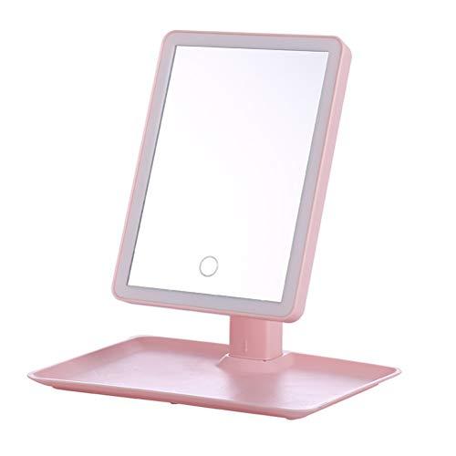 H/L Simple del LED Plástico De Escritorio del Maquillaje Espejo De Alta Definición, De Niña Rosada Linda Vestir Cuadrado Espejo con Funciones De Rotación Y De Almacenamiento para Cosmetic Beauty Care