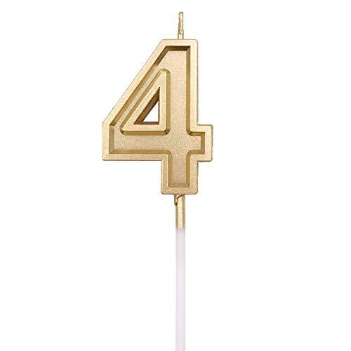 URAQT Velas De Cumpleaños Número, Velas De Cumpleaños Oro, Adecuado para Fiestas De Cumpleaños, Aniversarios De Bodas, Fiestas De Jubilación,4