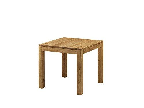 moebel-eins LISSABON Esstisch/Ausziehtisch Holztisch Massivholztisch Esszimmertisch Tisch geölt, Wildeiche, 80x80 cm