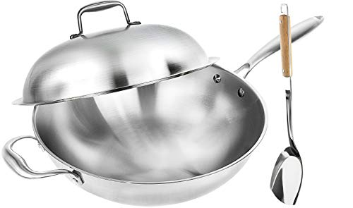Wok Pan with Premium Lid and Bonus Bamboo Spatula - Thick 13 Inch Stainless...