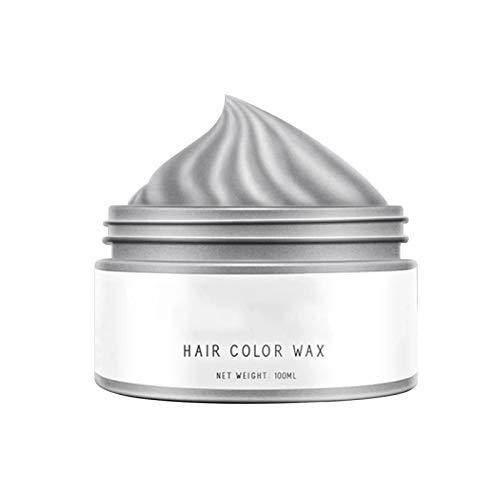 Brussel - 1 scatola di cera temporanea per capelli, non grassa, colore argento, grigio, per tintura per capelli, gel colorante, per acconciature, colorazione da uomo, donna, 100 ml