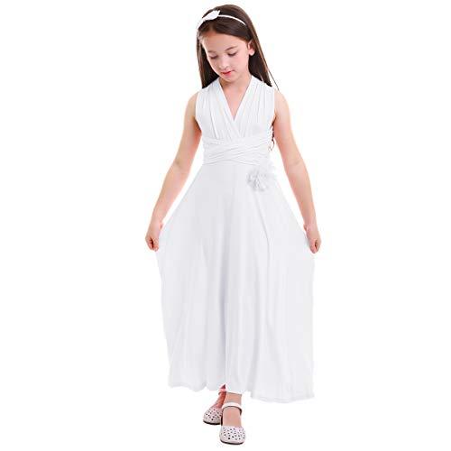 Little Girl Transformer Convertible Multi Way Wrap Evening Party Dress Short Sleeveless Wedding Bridesmaid Prom Dance Gown Loose Fit Full Length Long Dancewear Praise Liturgical Dress White