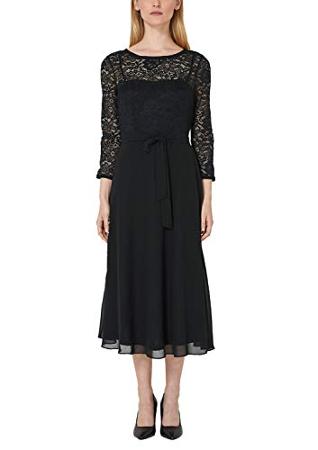 s.Oliver BLACK LABEL Damen Elegantes Chiffonkleid mit Spitze Black Velvet 40