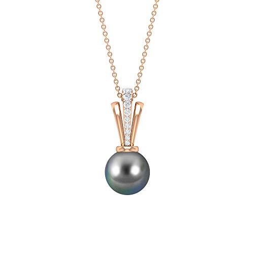 Colgante de diamante de perlas de Tahití de 5,35 quilates, colgante de compromiso, colgante de aniversario, colgante de gota de cadena larga para uso en fiestas, Metal, Diamond,