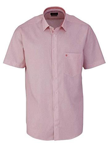 Hatico Regular Fit Hemd Halbarm Haifischkragen Muster orange Größe 46