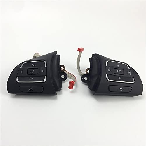 Botones del Volante Interruptor Izquierdo Derecho/Apto para Golf 6 / Apto para TIGUAN CC 5C0959537A 5C0959538B (Color : Black)