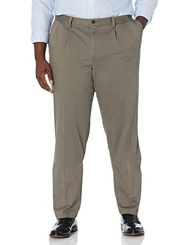 Dockers Men's Classic Fit Easy Khaki Pants - Pleated D3, Dark Pebble (Stretch), 32 32