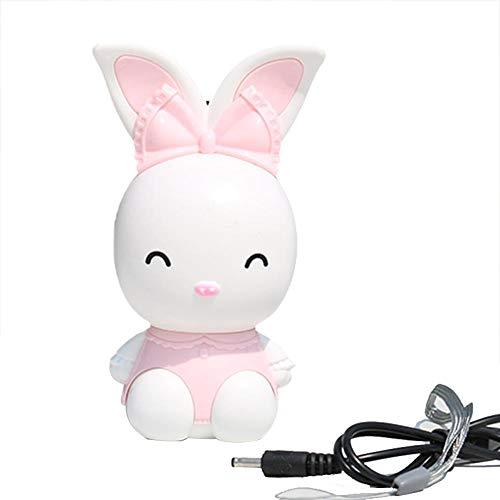 Rayber Pequeño ventilador eléctrico con forma de conejo con forma de conejo, portátil, carga fresca para excursiones y citas, color rosa