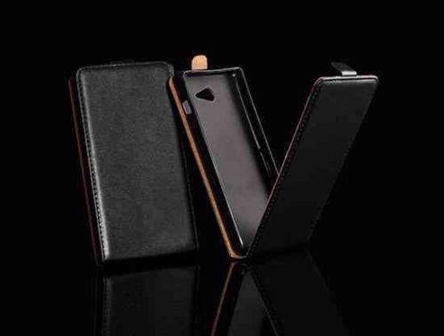 Unbekannt Leder-Imitat FLEXI schwarz/black Für Nokia Microsoft Lumia 730 Lumia 735 Lumia 730 Dual Sim Hülle Etui Flip Case Cover Flexi Silikon Klapp Handy Tasche Schutzhülle