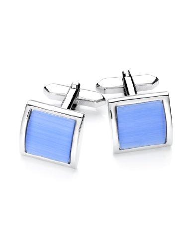 Vincenzo Boretti Herren Manschettenknöpfe rechteckig Silber-blau Katzenauge Box Etui edel elegant zum Hemd für Business Hochzeit
