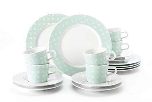 Seltmann Weiden Kaffeeservice 18-teilig weiß | Set für bis zu 6 Personen |Serie No Limits | beinhaltet je 6 Frühstücksteller, Kaffeeober-und Untertassen, Hartporzellan