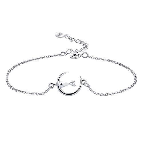 Belons Pulsera de plata de ley 925 con colgante de gato en la luna para mujeres y niños, cadena ajustable
