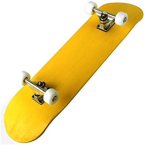 QUNHU Skateboards, 31 x 8 Pulgadas Monopatín Completo para Principiantes, 9 Capas Canadiense Maple Double Kick Deck Concave Cruiser Trick Skateboard para niños y Adultos (Color : Yellow)