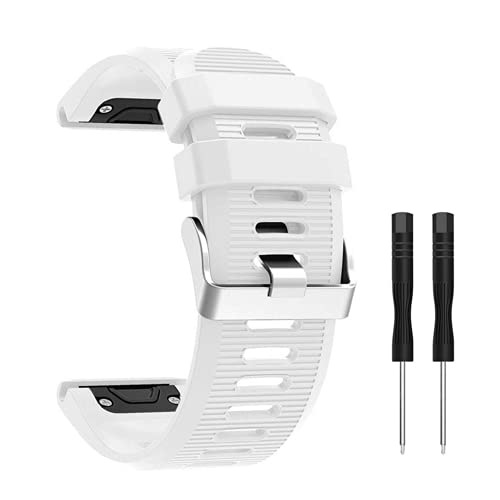 METEQI Correa de Repuesto Compatible con Garmin Fenix 5X, Correa de Reloj de Silicona Suave de 26 mm de Ancho y Ajuste rápido para Garmin Fenix 5X/Fenix 5X Plus/Fenix 3/Fenix 3 HR (Blanco)
