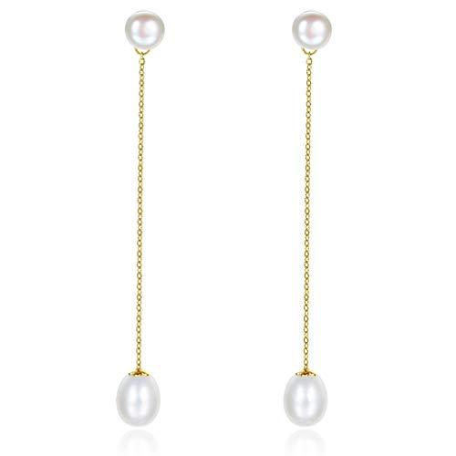 Aretes para mujer Cuelga los pendientes de los pendientes de gota pendiente de la boda del baile de aniversario-925 cultivadas de agua dulce de la perla de la Mujer, delicada joyería regalo Elegante P