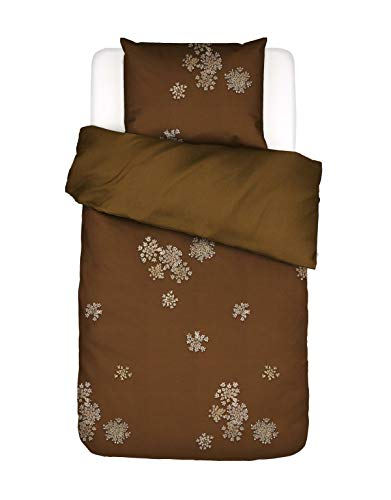 ESSENZA Lauren Bed Linen Floral Cotton Satin Brown 155 x 220 cm + 1 x 80 x 80 cm