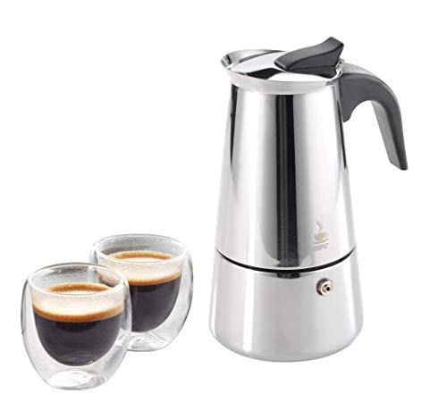 Gefu Espressokocher EMILIO Größe 4 Tassen und 2 Espressogläser