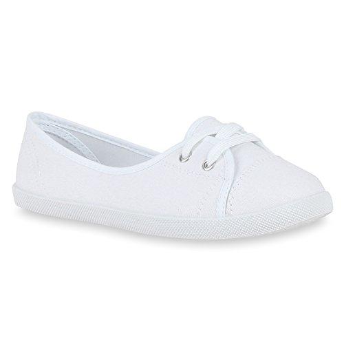 stiefelparadies Klassische Damen Ballerinas Sportliche Stoff Slipper Flats Sneakers Slip-ons viele Farben Schuhe 49747 Weiss 37 Flandell