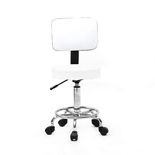 Round Shape Adjustable Salon Stool with Back White