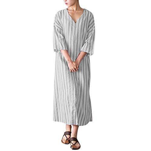 DQANIU Damen Kleid, Damen Gestreifte V-Ausschnitt Leinen Lose Kleid Mode Sieben Viertel Ärmel Langes Party Kleid