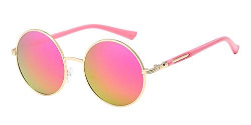 BOZEVON Retro Runde Sonnenbrille Damen - Vintage stilvoll Kreis Metallrahmen Gold-pink