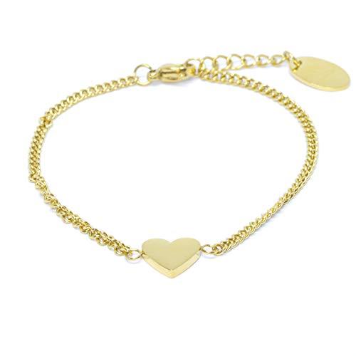 Hart armband in goud roestvrij staal - roestvrij staal - armband hartjes in grootte verstelbaar 15,5 cm tot 18 cm