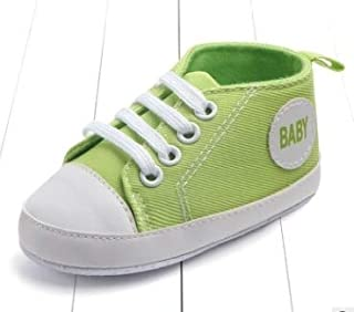 Children Shoes 3 Pairs Canvas Classic Sports Sneakers Newborn Baby Boys Girls First Walkers Shoes Infant Toddler Soft Sole Anti-Slip Baby Shoes(Darkblue Star) (Color : Light Green Baby)