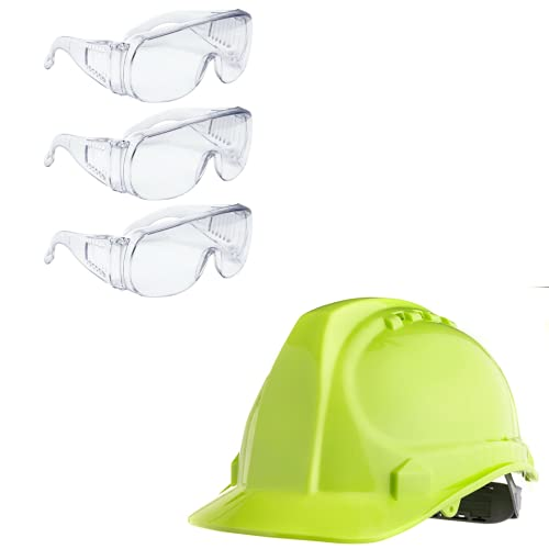Amston Safety Hard Hat, Vented Helmet, Cap Style, Type 1 Class C, Construction, ANSI Z89.1 and Clear Safety Glasses, High Impact ANSI Z87+ and OSHA Compliant Eye Protection (Pack of 3)