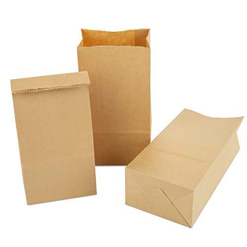 Vegena 100 Kleine Braune Papiertüten Papierbeutel, Geschenktüten Kraftpapiertüten Tüten mit Boden für Adventskalender Ostertüten Bastel Geschenke Kommunion Hochzeiten Nüsse Brottüten Geschenkbeutel