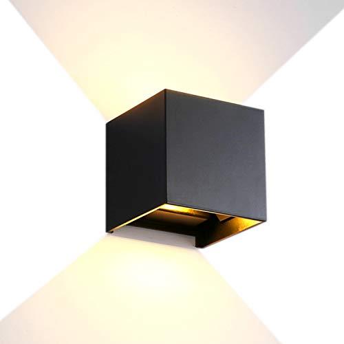 YJHome 12W Lámpara de pared negro, Aluminio Impermeable IP65 Aplique LED para interiores y exteriores 85V-265V 3000K Blanco Cálido Angulo de Haz Ajustable [Clase de eficiencia energética A+]