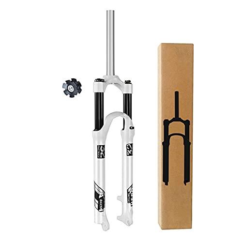 ZPPZYE Horquilla MTB 26 27,5 Pulgadas, Aleación Aluminio 1-1/8' Tubo Dirección Recto Suspensión Bicicleta Tenedor Resorte QR 9 mm Viaje 120mm (Color : White, Size : 26 Inch)