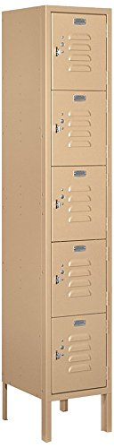 Salsbury Industries 65152TN-U Five Tier Box Style 12-Inch Wide 5-Feet High 12-Inch Deep Unassembled Standard Metal Locker, Tan Brown