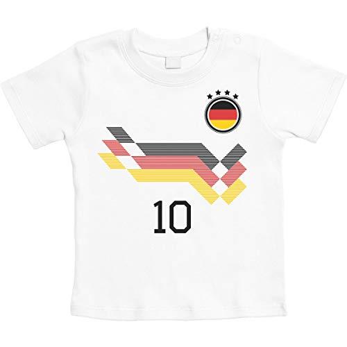 Deutschland Fußball EM WM Trikot Kinder Wunschname Unisex Baby Thirt 12-18 Monate Weiß